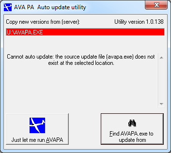 AvaPA cannot auto update
