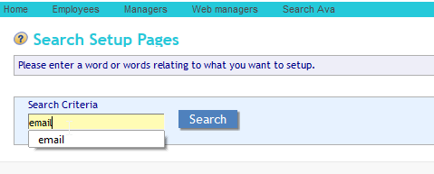 Search Setup Pages