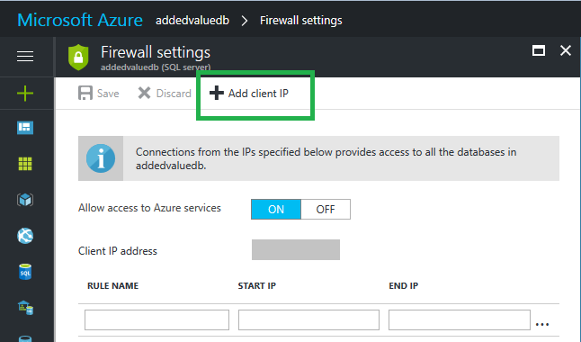 Firewall Settings Microsoft Azure 2