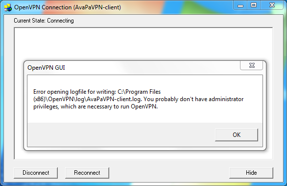 OpenVPN Error opening logfile for writing  You probably don